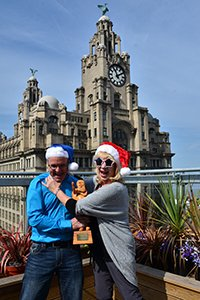 Linda Smith 'presents' the Santaz trophy to Alan Rothwell