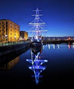Albert Dock Liverpool festive lights