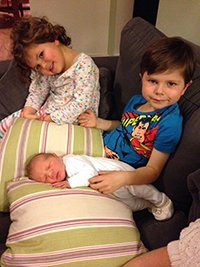 Baby Joseph with brother Archie and sister Jess