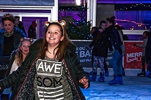 CREDIT - Bob Edwards. Fun on the ice this young lady enjoys the ice rink at Liverpool ONE