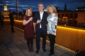 Gillian Miller, Paul Monaghan and Suzanne Collins on new terrace