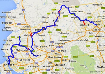 The route of the Leeds Liverpool Canal