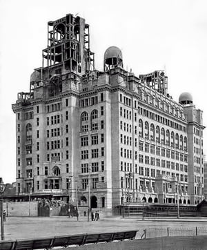 Going up - the Royal Liver Building under construction